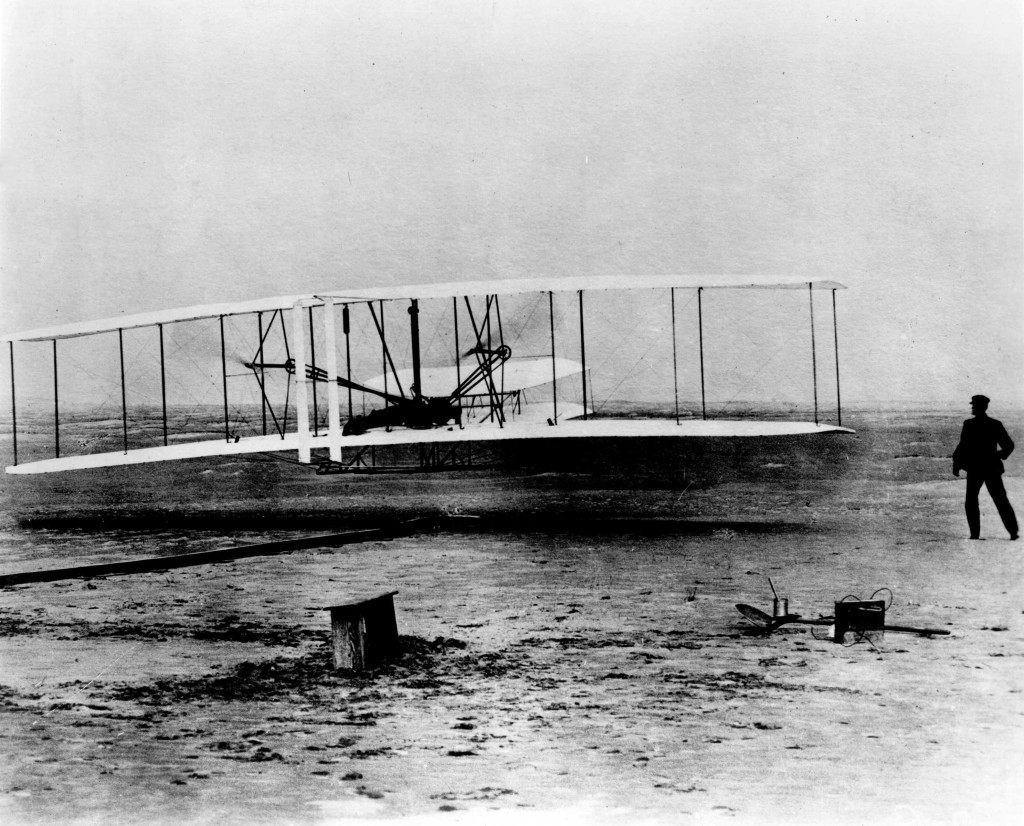 World famous photo of the Wright Brothers' first flight. 1903