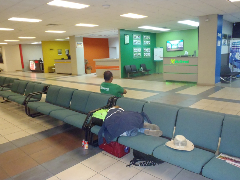 Sleeping in the airport in Panama City at the tail end of an 11 hour layover.