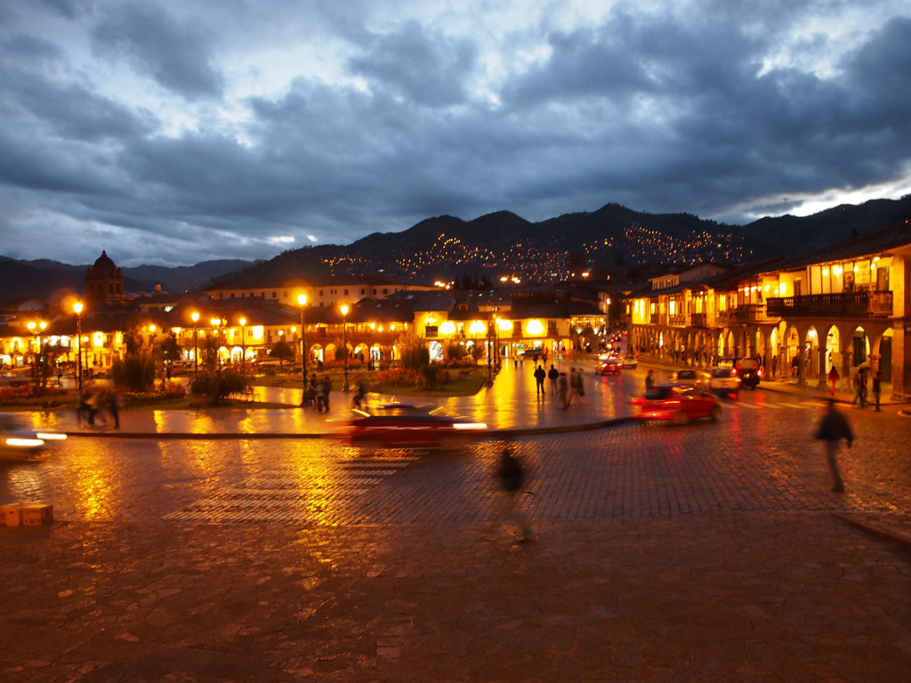Plaza Mayor, one of the main town squares in Cusco, Peru by night.