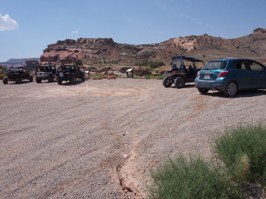 Our poor little rental car in a place meant only for off-road vehicles.