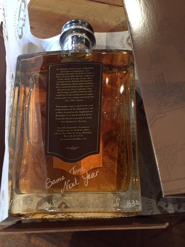 Custom inscribed bottle of 10 year old rum.